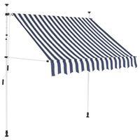 vidaXL Luifel handmatig uittrekbaar 200 cm blauw en witte strepen