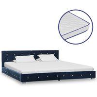vidaXL Bed met traagschuim matras fluweel blauw 180x200 cm