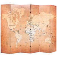 vidaXL Kamerscherm inklapbaar wereldkaart 228x170 cm geel