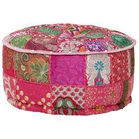 vidaXL Poef patchwork rond handgemaakt 40x20 cm katoen roze