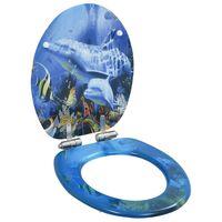 vidaXL Toiletbril met soft-close deksel dolfijn MDF