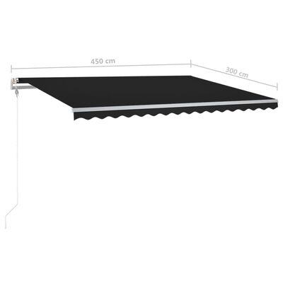 vidaXL Luifel handmatig uittrekbaar met LED 450x300 cm antracietkleur