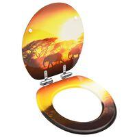vidaXL Toiletbril met soft-close deksel savanne MDF