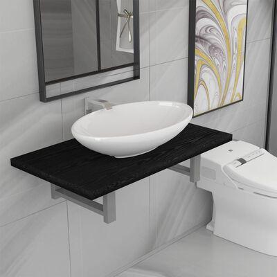 vidaXL 2-delige Badkamermeubelset keramiek zwart, Zwart