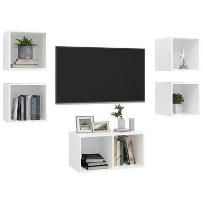 vidaXL 5-delige Tv-meubelset spaanplaat wit