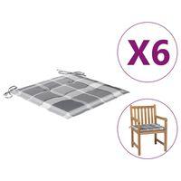 vidaXL Tuinstoelkussens 6 st ruitpatroon 50x50x4 cm stof grijs