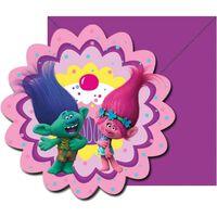 Dreamworks uitnodigingen met envelop paars/roze 6 stuks