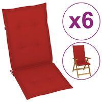 vidaXL Tuinstoelkussens 6 st 120x50x4 cm rood