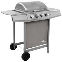 vidaXL Gasbarbecue met 4 branders zilverkleurig