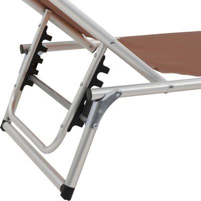 vidaXL Ligbed inklapbaar met dak aluminium en textileen bruin
