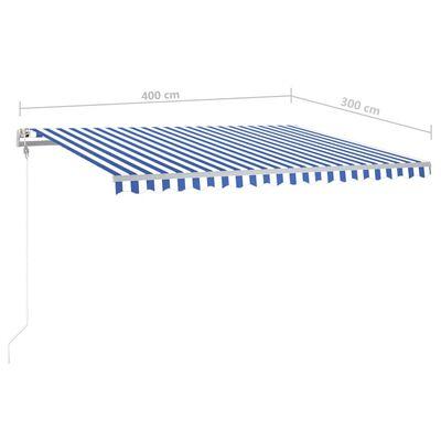 vidaXL Luifel handmatig uittrekbaar met LED 400x300 cm blauw en wit