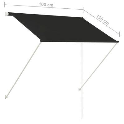 vidaXL Luifel uittrekbaar 100x150 cm antraciet