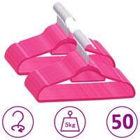 vidaXL 50-delige Kledinghangerset anti-slip fluweel roze