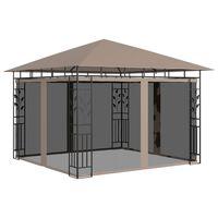 vidaXL Prieel met klamboe 3x3x2,73 m 180 g/m² taupe
