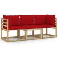 vidaXL Tuinbank 3-zits met rode kussens