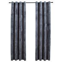 vidaXL Gordijn verduisterend met ringen 2 st 140x175 cm fluweel zwart