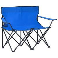 vidaXL Campingstoel 2-zits inklapbaar staal en stof blauw