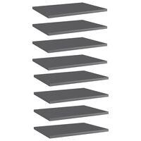 vidaXL Wandschappen 8 st 40x30x1,5 cm spaanplaat hoogglans grijs