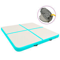 vidaXL Gymnastiekmat met pomp opblaasbaar 200x200x15 cm PVC groen