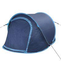 vidaXL Tent pop-up 2-persoons marineblauw/lichtblauw