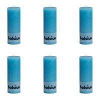 Bolsius Rustiekkaarsen 190x68 mm blauw 6 st