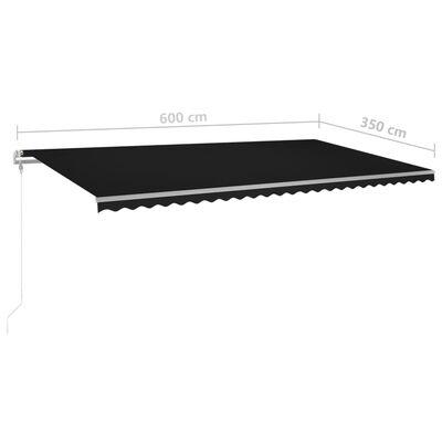 vidaXL Luifel handmatig uittrekbaar met LED 6x3,5 m antracietkleurig