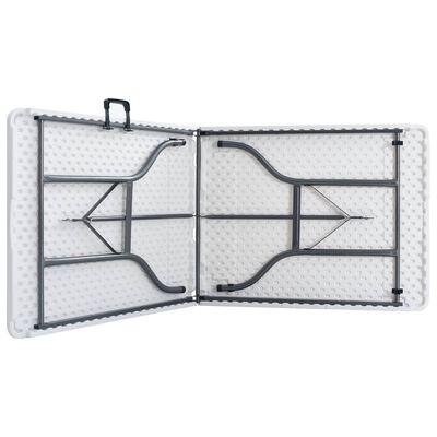vidaXL Tuintafel met 2 bankjes inklapbaar 180 cm staal en HDPE wit
