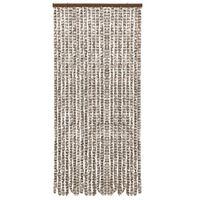 vidaXL Vliegengordijn 90x220 cm chenille taupe en wit