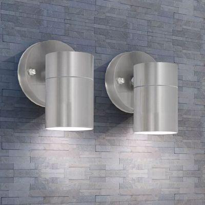 vidaXL Buitenwandlampen 2 st neerwaarts roestvrij staal