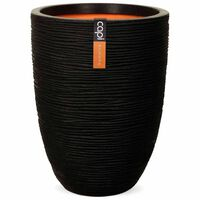 Capi Bloempot Nature Rib elegant laag 46x58 cm zwart PKBLR783