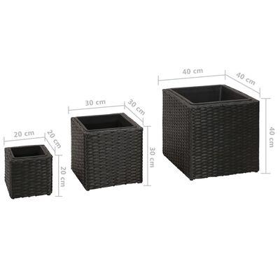 vidaXL Plantenbakken verhoogd 3 st poly rattan zwart