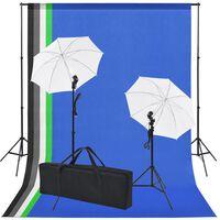 vidaXL Fotostudio set met 5 gekleurde achtergronden & 2 paraplu's