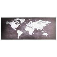 vidaXL Wandprintset wereldkaart 150x60 cm canvas grijs