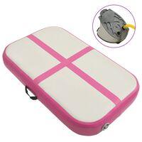 vidaXL Gymnastiekmat met pomp opblaasbaar 60x100x15 cm PVC roze