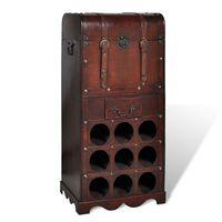 vidaXL Wijnrek voor 9 flessen met opslag hout