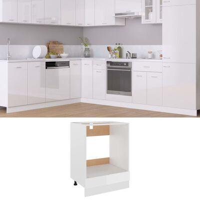 vidaXL Ovenkast 60x46x81,5 cm spaanplaat hoogglans wit