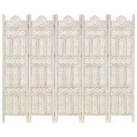 vidaXL Kamerscherm met 5 panelen handgesneden 200x165 cm mangohout wit