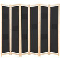vidaXL Kamerscherm met 6 panelen 240x170x4 cm stof zwart