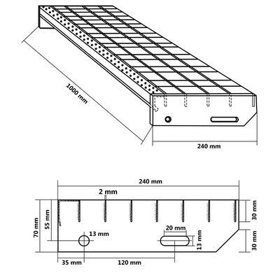 vidaXL Traptreden 4 st 1.000x240 mm geperst gegalvaniseerd staal