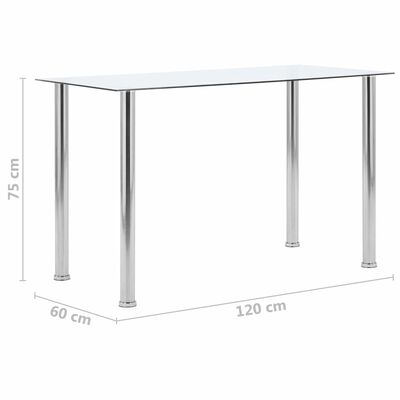 vidaXL Eettafel 120x60x75 cm gehard glas transparant