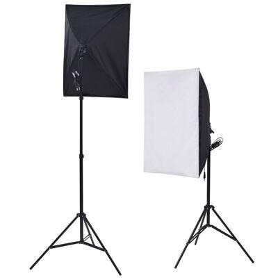 vidaXL Fotostudio set met 5 gekleurde achtergronden & 2 softboxen