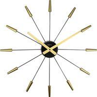 Wandklok NeXtime dia. 58 cm, plastic, goud, 'Plug Inn'