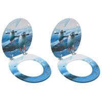 vidaXL Toiletbrillen met deksel 2 st pinguïn MDF