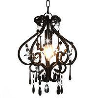 vidaXL Plafondlamp met kralen rond E14 zwart