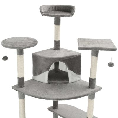 vidaXL Kattenkrabpaal met sisal krabpalen 203 cm grijs en wit