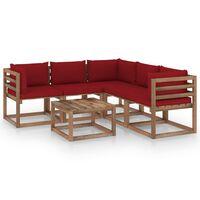 vidaXL 6-delige Loungeset met wijnrode kussens geïmpregneerd grenenhout