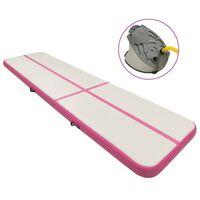 vidaXL Gymnastiekmat met pomp opblaasbaar 800x100x15 cm PVC roze