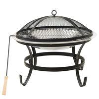 vidaXL Vuurplaats en barbecue 2-in-1 met pook 56x56x49 cm rvs