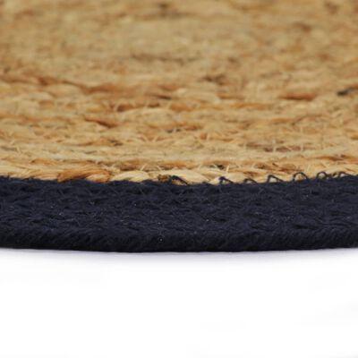 vidaXL Placemats 6 st 38 cm jute en katoen natuurlijk en marineblauw