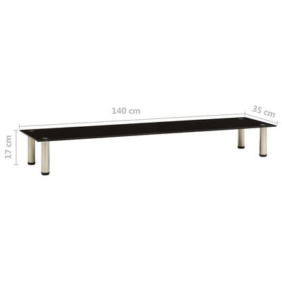 vidaXL Tv-meubel 140x35x17 cm gehard glas zwart